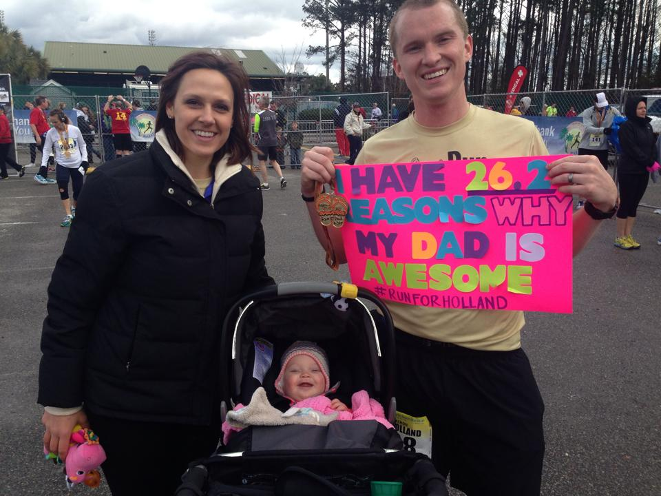 Holland and Brooke met me at the finish of my first marathon with this sign.