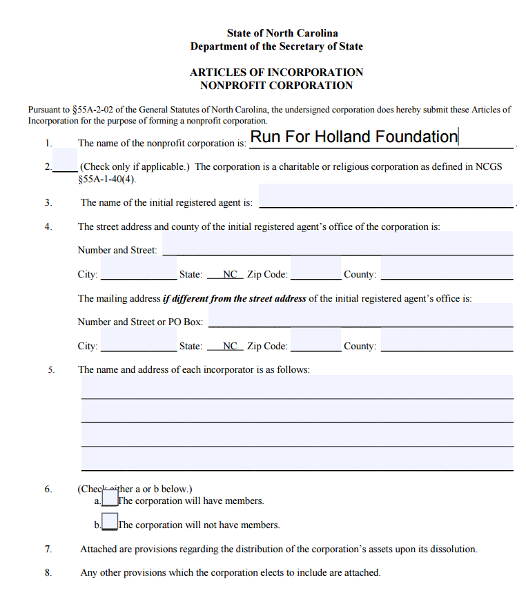Run For Holland Articles Of Incorporation